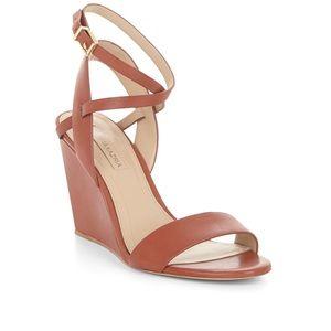 BCBG Lennox Leather Wedge Sandal 8.5